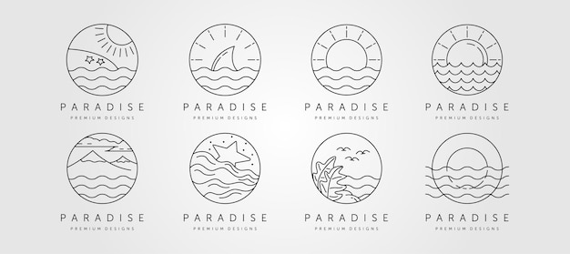 Zestaw minimalistycznego logo sztuki linii oceanu, krajobraz oceanu