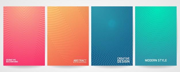 Zestaw minimalistycznego projektu okładki z nowoczesnym wzorem geometrycznym