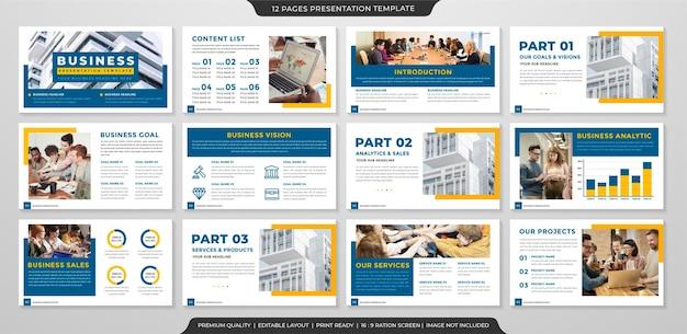 Zestaw minimalistycznego projektu szablonu prezentacji biznesowej z czystym stylem i minimalistycznym układem