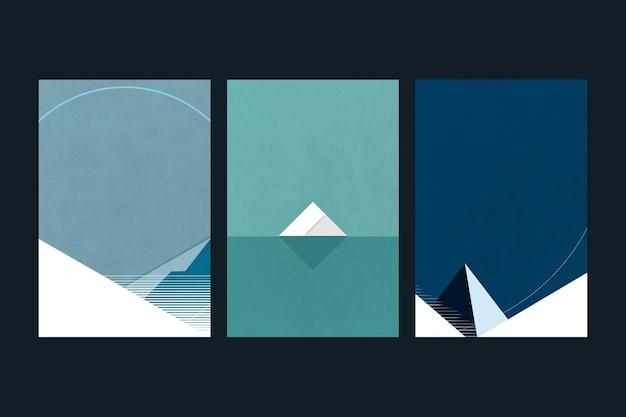 Zestaw minimalistycznego stylu plakatu arktycznego krajobrazu w stylu retro