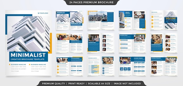 Zestaw minimalistycznego szablonu broszury