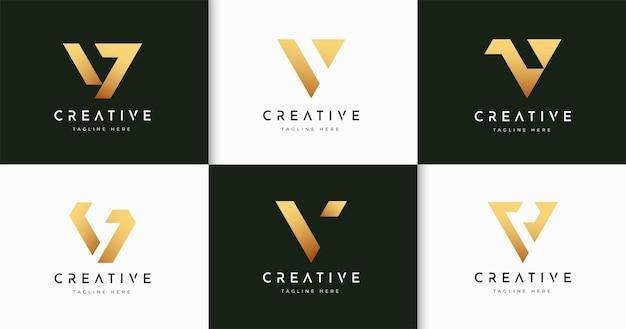 Zestaw minimalistycznego szablonu projektu logo w stylu monogramu listowego