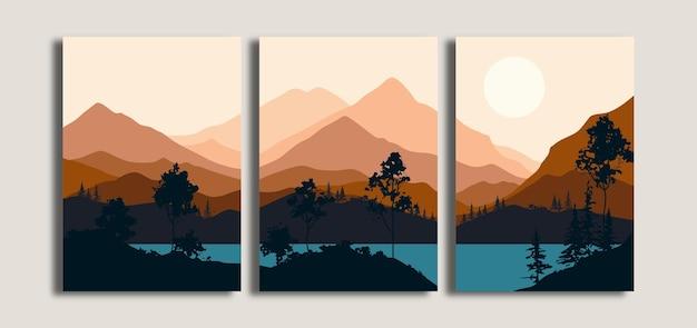 Zestaw Minimalistycznego Tła Krajobrazu Z Widokiem Na Góry I Jezioro Premium Wektorów