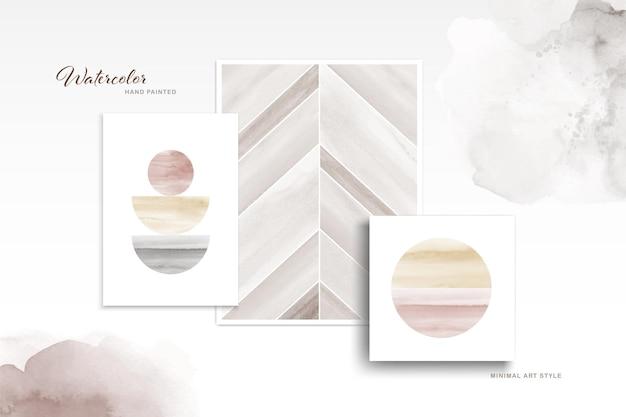Zestaw minimalistycznej sztuki z ręcznie malowanym akwarelą.