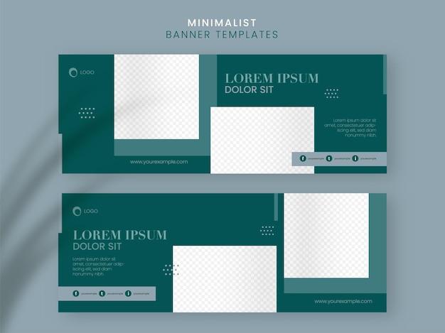 Zestaw minimalistyczny baner mediów społecznościowych, projekt szablonu z miejsca na kopię w kolorze zielonym i białym.