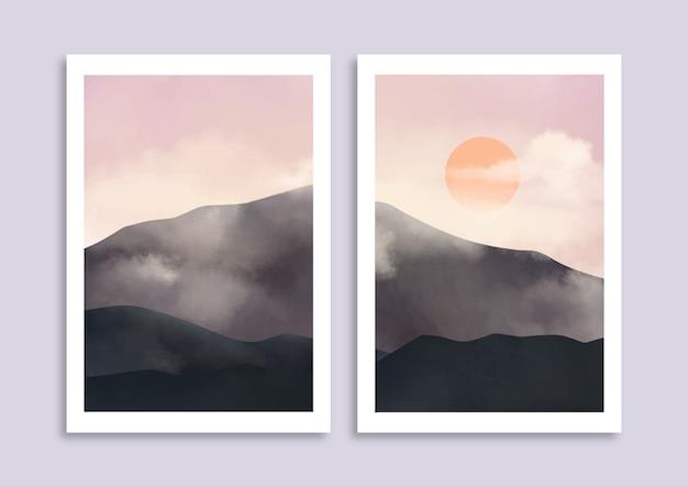 Zestaw minimalistyczny ręcznie malowany krajobraz z pochmurną górą