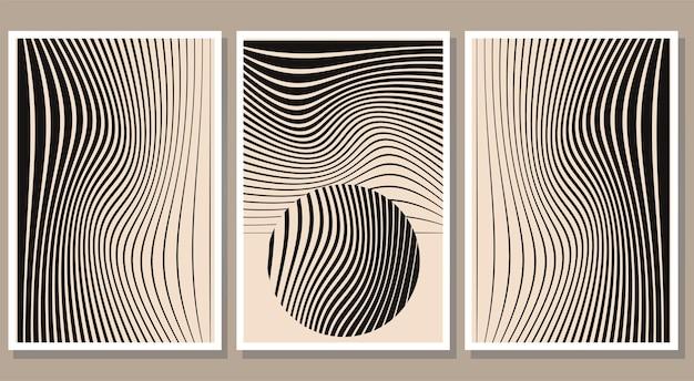 Zestaw minimalistycznych abstrakcyjnych plakatów w paski ilustracja wektorowa kolekcji współczesnej sztuki ściennej