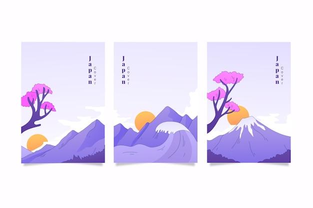 Zestaw minimalistycznych japońskich okładek