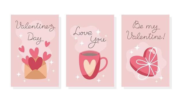 Zestaw minimalistycznych kart walentynkowych w stylu płaski