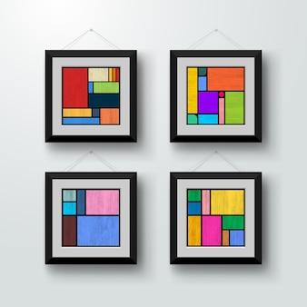Zestaw minimalistycznych kolorowych plakatów geometrycznych.