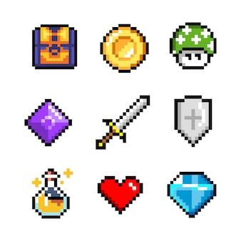 Zestaw minimalistycznych obiektów wektorowych sztuki pikseli na białym tle. miecz, moneta, mikstura, serce.