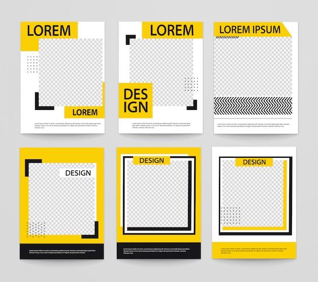 Zestaw minimalistycznych plakatów geometrycznych o kształtach linii, czarny z żółtym.