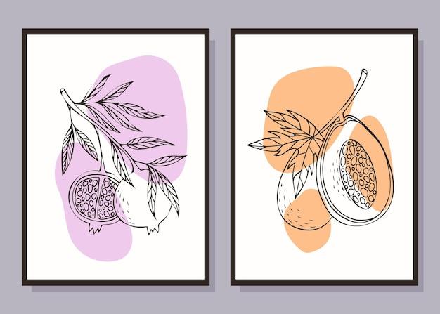 Zestaw minimalistycznych plakatów owocowych sztuka współczesna