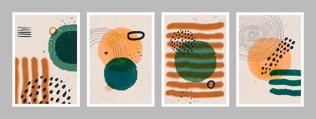 Zestaw minimalistycznych plakatów sztuki abstrakcyjnej