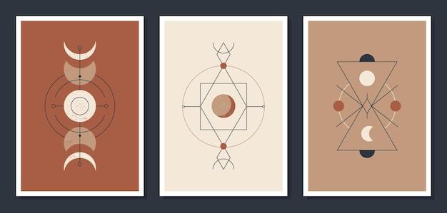 Zestaw minimalistycznych plakatów z ciałami niebieskimi. plakaty w nowoczesnym stylu boho. księżyc i gwiazdy. mistyczne karty ilustracji.