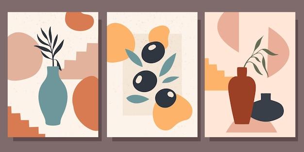 Zestaw minimalistycznych plakatów ze sztuką współczesną martwych natur