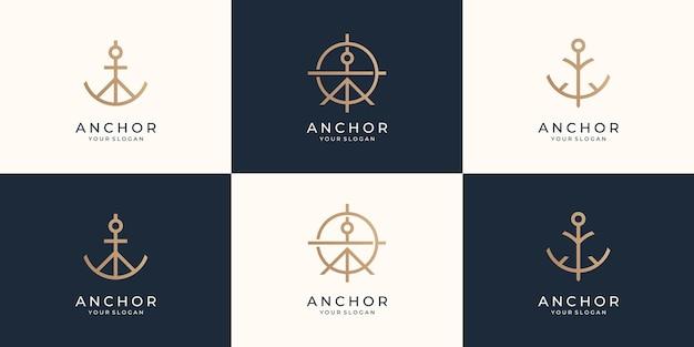 Zestaw minimalistycznych symboli kotwicy logo kotwice statek morskie retro logotypy szablon wektor premium
