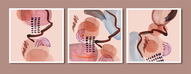 Zestaw minimalistycznych wydruków artystycznych abstrakcyjnych tła akwarela