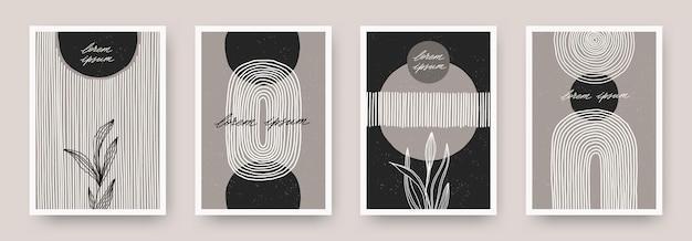 Zestaw minimalnego plakatu ściennego z abstrakcyjnymi liniami kształtu i rośliną