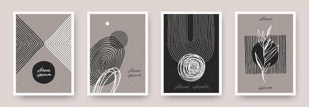 Zestaw minimalnego plakatu ściennego z ręcznie rysowanymi abstrakcyjnymi liniami kształtu i rośliną