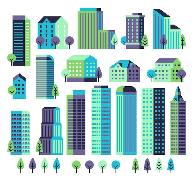 Zestaw minimalnych budynków na białym tle