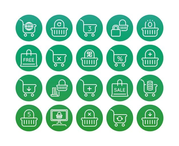 Zestaw minimalnych koszyka na zakupy online wektor linii ikon. idealny piksel. cienki skok. 48x48 pikseli.