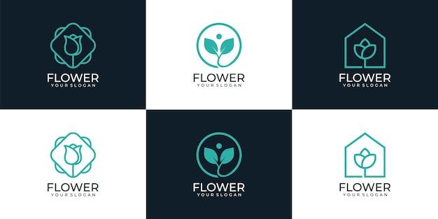 Zestaw minimalnych liniowych kwiatów kosmetycznych logo butik zdrowie wellness inspiracja