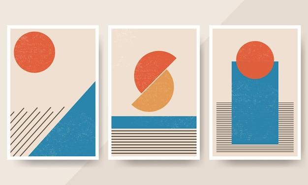 Zestaw minimalnych okładek o geometrycznych kształtach z lat 20