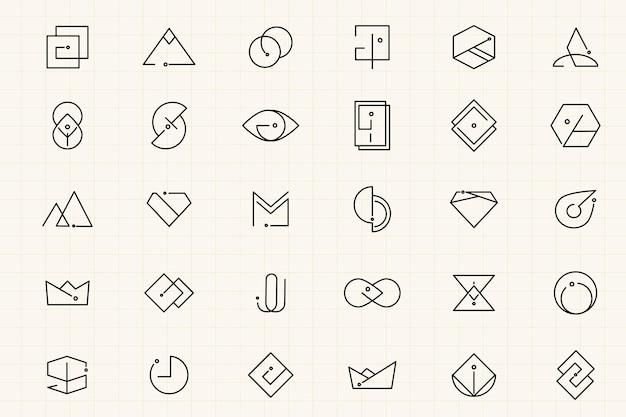 Zestaw minimalnych wzorów logo