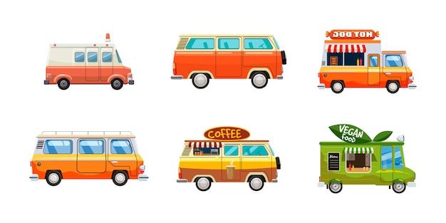 Zestaw minivanów. komplet kreskówka minivana