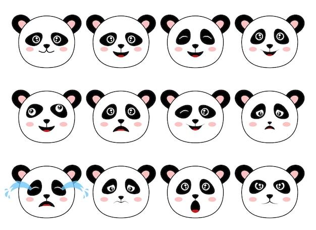 Zestaw miś panda na białym tle