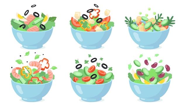 Zestaw misek do sałatek. pokrój zielone warzywa z jajkami, oliwkami, serem, fasolą, krewetkami. ilustracje wektorowe świeżej żywności, zdrowego odżywiania, przystawek, obiadów