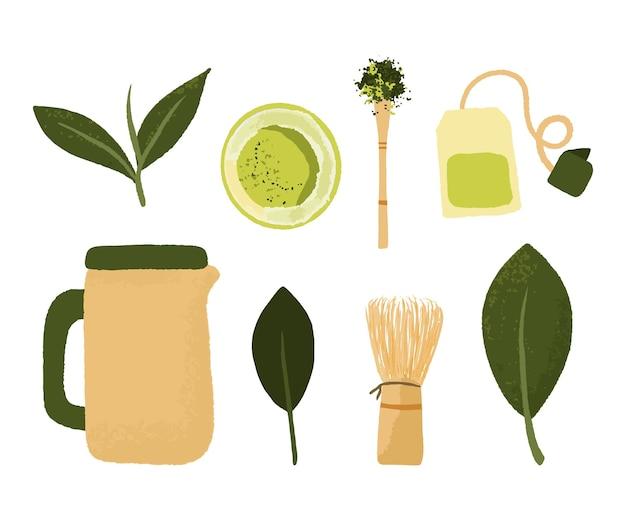 Zestaw miski proszku matcha, drewnianą łyżką i trzepaczką, liść zielonej herbaty na białym tle. akcesoria do przygotowania zielonej herbaty