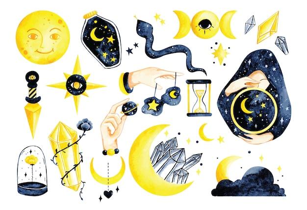 Zestaw mistycznej astronomii w ręcznie rysowane doodle akwarela ilustracja