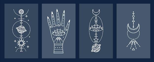 Zestaw Mistycznych Astrologicznych. Astronomia. Grafika Liniowa Premium Wektorów