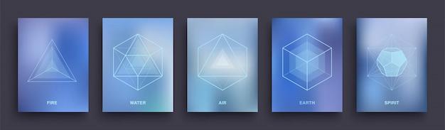 Zestaw mistycznych ezoterycznych plakatów. szablon projektu świętej geometrii. pięć minimalnych idealnych brył platońskich.