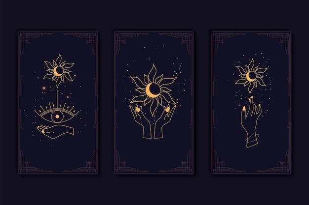 Zestaw mistycznych kart tarota. elementy symboli ezoterycznych, okultystycznych, alchemicznych i czarownic. znaki zodiaku. karty z ezoterycznymi symbolami. sylwetka rąk, gwiazd, księżyca i kryształów. ilustracja wektorowa