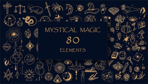 Zestaw mistycznych magicznych złotych elementów