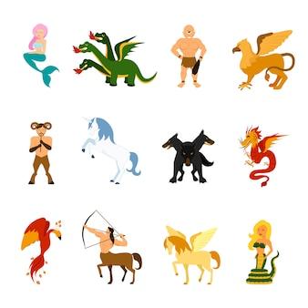 Zestaw mitycznych obrazów stworów