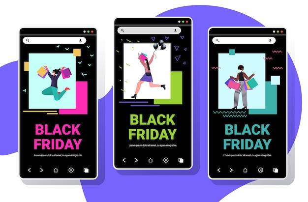 Zestaw mix wyścig kobiety w maskach trzymające torby na zakupy czarny piątek duża wyprzedaż promocja rabat koncepcja kwarantanny koronawirusa kolekcja ekranów smartfonów