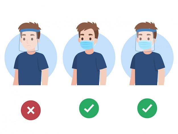 Zestaw młodego człowieka noszącego chirurgiczną ochronną medyczną maskę i osłonę twarzy