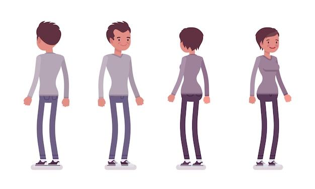 Zestaw młodego mężczyzny i kobiety w pozycji stojącej