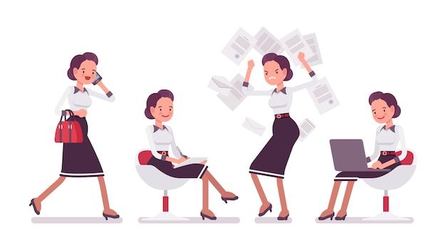Zestaw młodej atrakcyjnej sekretarki w scenach biurowych