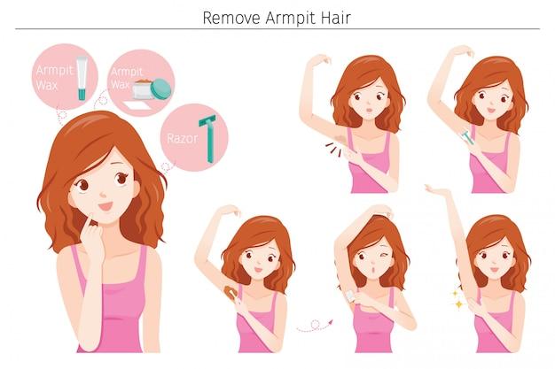 Zestaw młodej kobiety usunąć włosy pod pachami