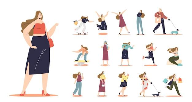 Zestaw młodej kobiety z długimi włosami w różnych sytuacjach życiowych i pozach: nosić torby z zakupami, spacerować z psem, jeździć na deskorolce, podekscytowany jedzeniem lodów. płaska ilustracja wektorowa