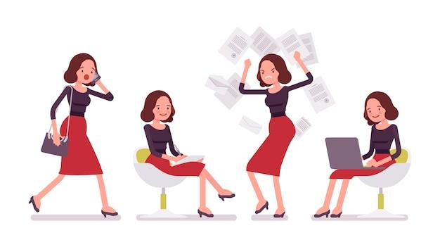 Zestaw młodej sekretarki w scenach biurowych