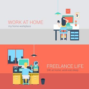 Zestaw młody mężczyzna kobieta biuro w domu niezależny praca domowa laptop tabeli pracy. sytuacja stylu życia płaskich ludzi pracy w domu koncepcja. kolekcja ilustracji młodych twórczych ludzi.