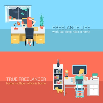 Zestaw młody mężczyzna kobieta biuro w domu niezależny praca domowa laptop tabeli pracy widok z tyłu. sytuacja stylu życia płaskich ludzi pracy w domu koncepcja. kolekcja ilustracji młodych twórczych ludzi.