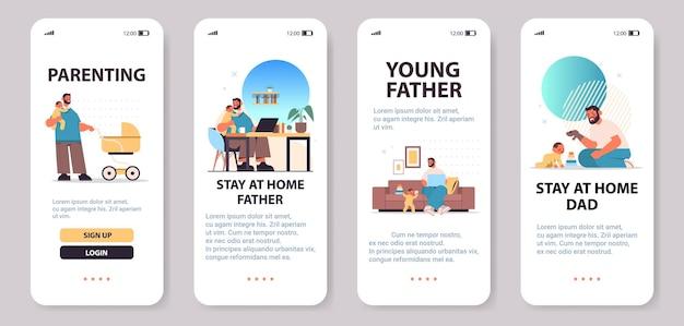 Zestaw młody ojciec bawiący się z małym synem koncepcja ojcostwa tata spędzający czas ze swoim dzieckiem ekrany smartfonów kolekcja pełnej długości pozioma kopia przestrzeń ilustracji wektorowych