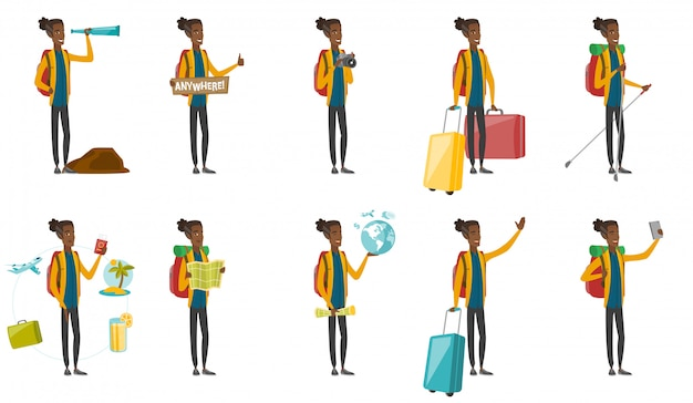 Zestaw młodych afrykańskich podróżników